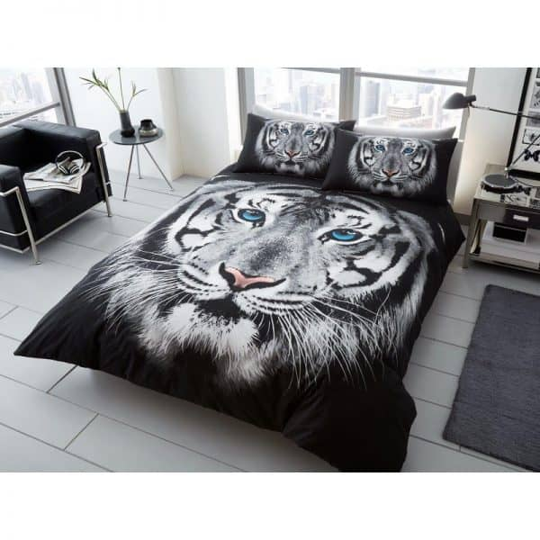 White Tiger Face Duvet Cover