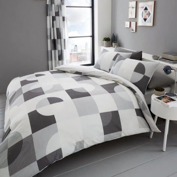 Alexa Geometric Duvet Cover Grey