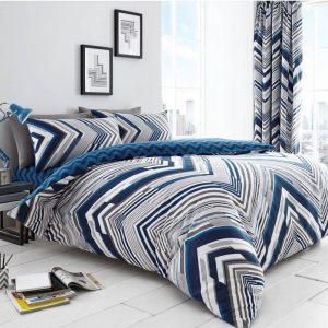 Austin Chevron Striped Duvet Cover Blue