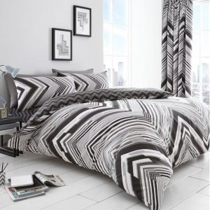 Austin Chevron Striped Duvet Cover Grey