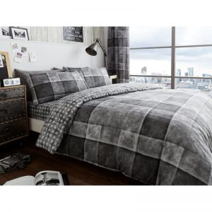 Denim Check Duvet Cover Grey