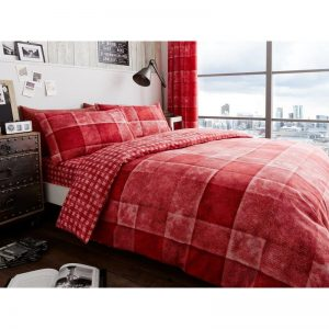 Denim Check Duvet Cover Red
