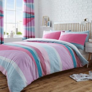 Dexter Striped Duvet Cover Pink