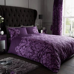 Empire Damask Duvet Cover Purple