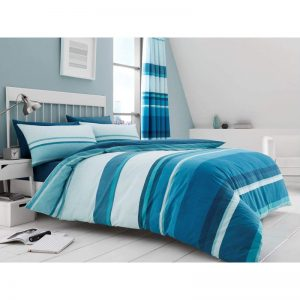 Hudson Striped Duvet Cover Teal