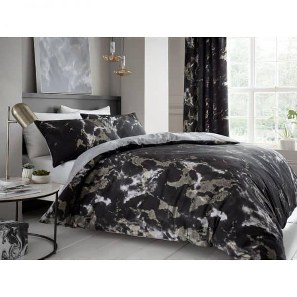 Marble Effect Duvet Cover Black