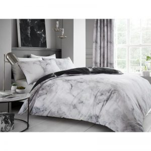 Marble Effect Duvet Cover White