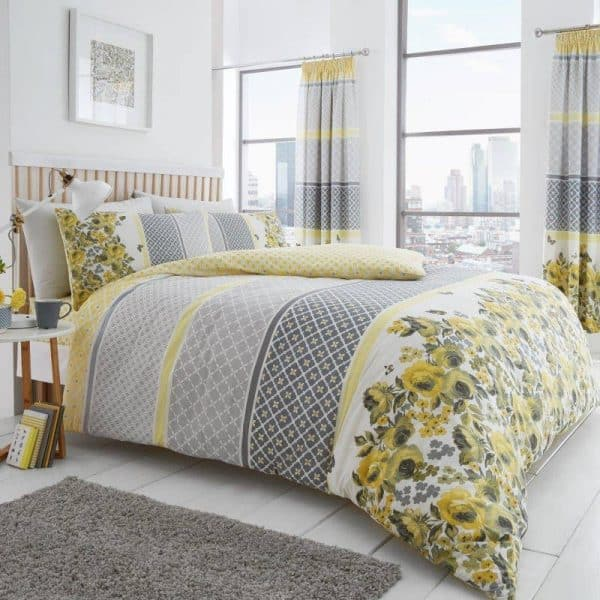 Saphira Floral Duvet Cover Yellow