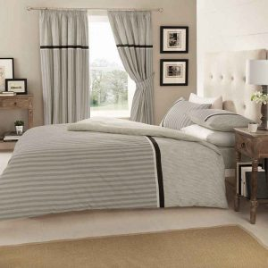 Valeria Striped Duvet Cover Grey