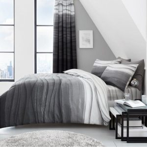 Wave Ombre Striped Duvet Cover Grey