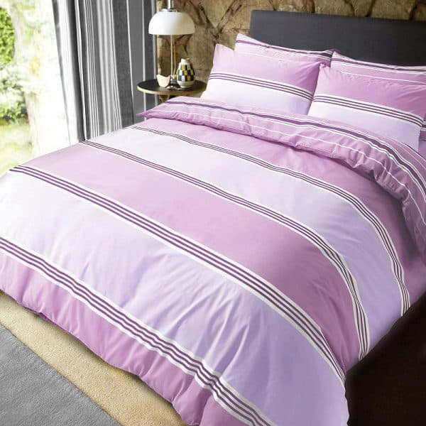 Pieridae Banded Stripe Duvet Cover Lilac
