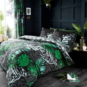 Dark Tropical Duvet Cover Green