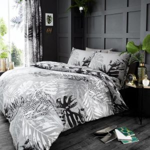 Dark Tropical Duvet Cover Grey