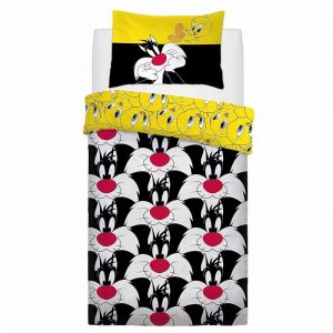 Housse de couette simple Looney Tunes Sylvester et Tweety