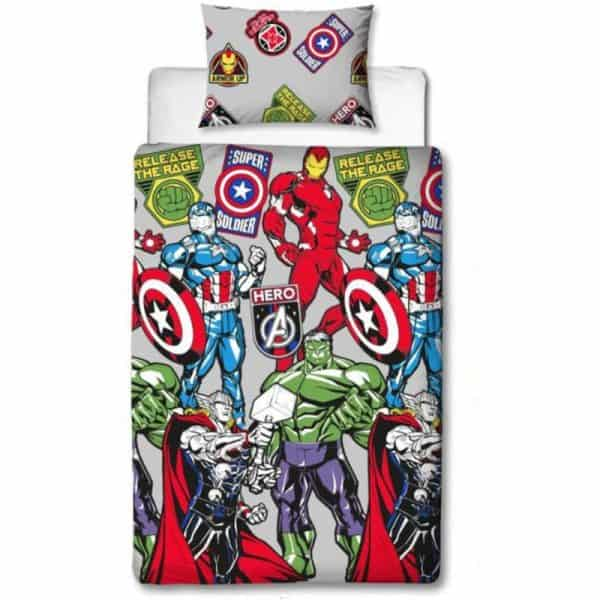 Marvel Avengers Stickers Single Duvet Cover Front
