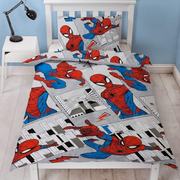 Spiderman Flight Single Duvet Cover Front