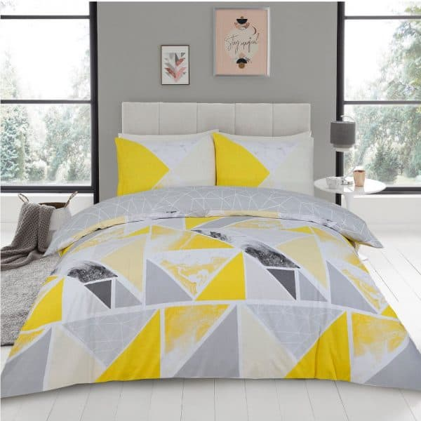 Mila Duvet Cover Set Ochre Grey