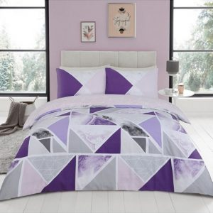 Mila Duvet Cover Set Purple Grey