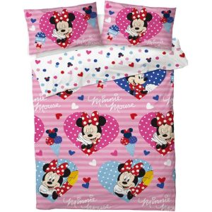 Minnie Mouse Love Hearts Double Duvet Cover Front