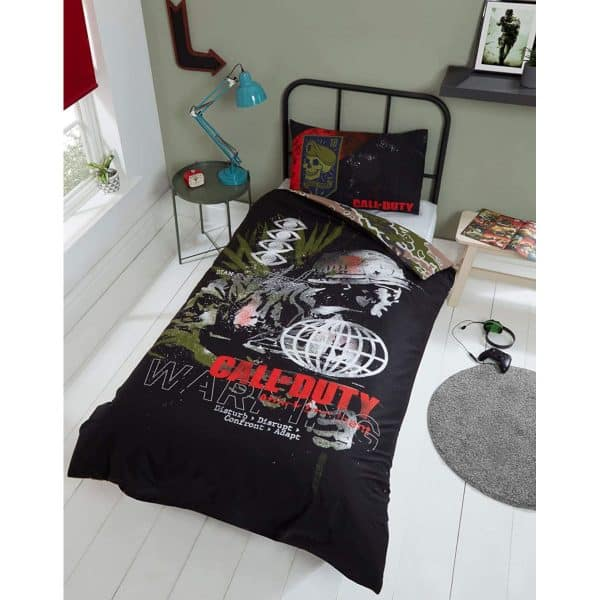 Call Of Duty Warning Single Duvet Cover Front