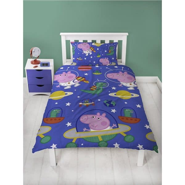 Peppa Pig George Pig Planets Single Duvet Cover Front
